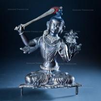 Silver Plated Bronze MANJUSHREE Handmade Sculpture