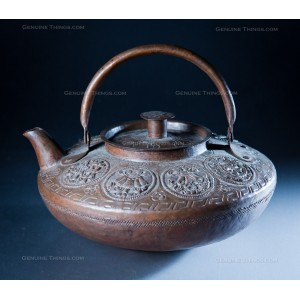 Copper Hand Crafted Metal sculpture Etching Tea Pot