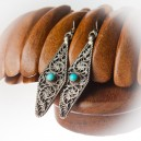 Silver and Coral Stone Hand Made Fulgeri Design Earrings