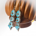 Turquoise and Silver Hand Made Earrings