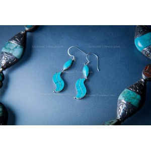 Hand Made Silver and Turquoise Necklace. Gold Inlay