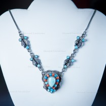 Turquoise Coral and Silver Handmade Necklace