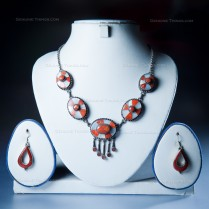 Coral and Mother Pearl Handmade Necklace with Earrings