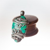 Hand Crafted Silver Turquoise stone with Two Snake Pendant