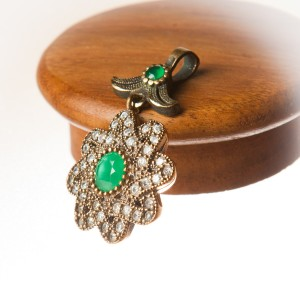 Gold Plated Sterling Silver and Emerald Stone Handmade Pendant