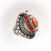 Handmade Silver and Coral Ring