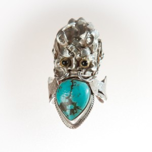 Handmade Unique Dragon Silver and Turquoise Ring