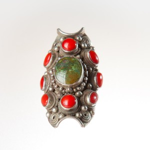 Kathmandu Silver and Coral Ring