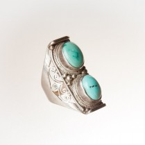 Handmade silver and  turquoise ring size 7.5