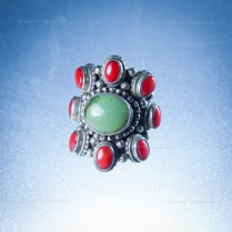 Handmade Silver Ring with Turquoise and Coral Stones size 8
