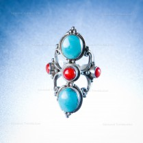 Silver Ring with Turquoise and Coral Stones Handmade