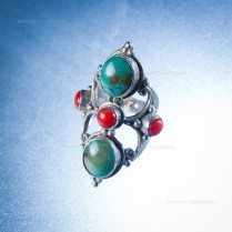 Silver handmade Dorje Ring with Turquoise and coral stones
